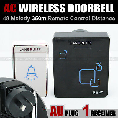 350M AC 1 Transmitter 1 Receiver Wireless Remote Door Chime Bell 48 Chimes