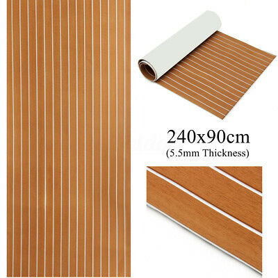 90 x 240cm EVA Foam Teak Decking 5.5m Sheet Marine Boat Floor Mat Self-Adhesive