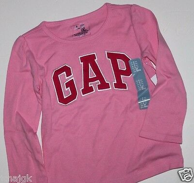 baby Gap NWT Girl/'s White Arch Logo T Shirt Top w// Navy Blue /& Pink Logo