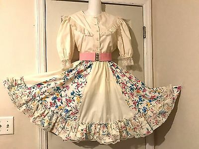 Square Dance Dress, 2 Pc  Off White With Flowers Print &  Lace M