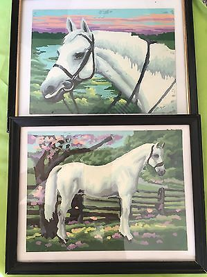 Lot Of 2 Paint By Number PICTURES White HORSE framed small