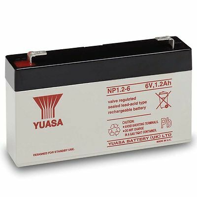 YUASA NP1.2-6 6V 1.2Ah F1 Sealed LeadAcid Rechargeable SLA Industrial Battery