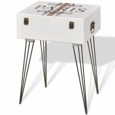 White Bed Side Table Cabinet Retro Vintage Bedside Nightstand Suitcase Stand NEW