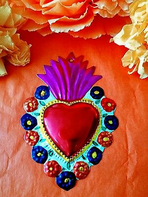 Authentic Mexican Tin Folk Art Pretty Flaming Heart Milagro with Flowers Oaxaca
