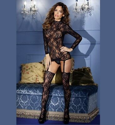 Be Wicked BWB34 Black Lace Suspender Body Stocking NWT One Size