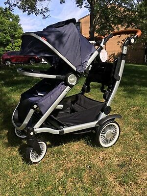 Austlen Entourage Stroller - Silver / Navy - FREE Sit And Stand FREE Snack Tray
