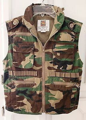 Jr. G.I. Rothco Camouflage Ranger Vest Zip Combat Airsoft Hunting Boys M