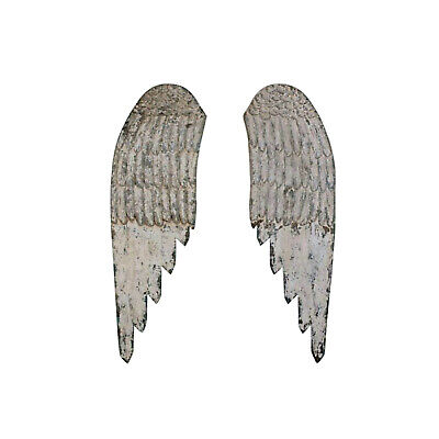 Pair of Wooden Wall Angels Wings Holiday Decor 44 Inch Carved Cottage Chic