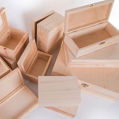 Selection of Small & Large Wooden Storage Boxes /Memory Keepsake Box with Lid