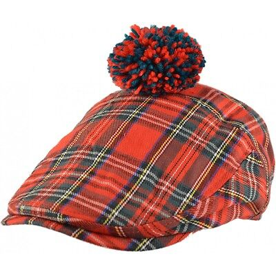 Scottish golf hat with pom pom