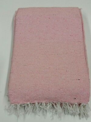 Hand Woven Solid Color Pink  Imported Warm Mexican Yoga Blanket Throw Cover
