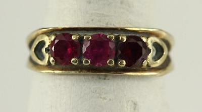 Vintage Estate Jewelry 10KT Yellow Gold Three Stone Tones SPINEL 5MM Ring Size 6