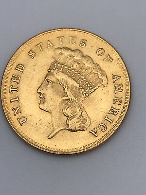 1855 $3 Indian Princess Head Old Gold Coin 5Gram