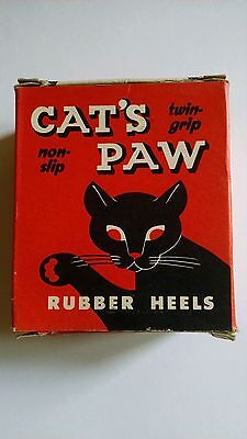Vintage Cats Paw Shoe Rubber Heels Advertising Box NOS Store Display Cat Ad