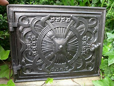 Vintage decorative cast iron fire door clay/bread oven door/pizza smoke house 1