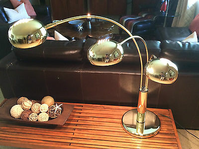 Large Mid Century Modern Brass Lamp 3 Cascading Arms Console Table