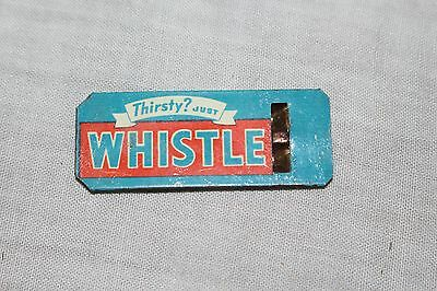 Vintage 1940's Whistle Orange Soda Pop Metal Whistle Sign~Works~Very Neat