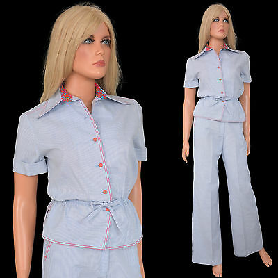 Vintage 70s 80s LEISURE PANT SUIT Preppy Pincord Pants Peplum Top Secretary - S
