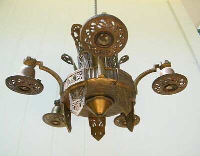 Vintage Arts & Crafts Chandelier Needs Restoration