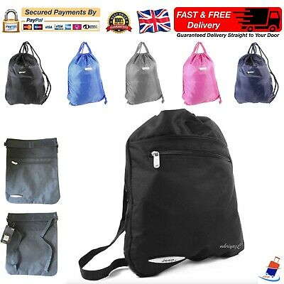 Gym Sack Sports Bag Mens Women Boys Girls Drawstring Backpack School PE Rucksack