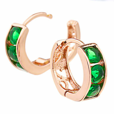 Small 14K Rose Gold Gf Huggie Made With Green Swarovski Crystal Womens Earrings