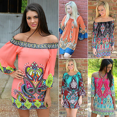 Boho Womens Off Shoulder Floral Dress Gypsy Long Top Tee Blouse Bikinis Cover Up
