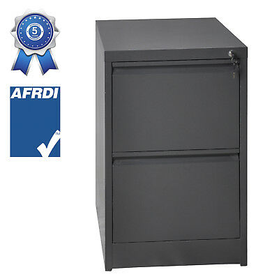 2 Drawer Steel Filling Cabinet Office Home Factory Assembled Heavy Duty Files