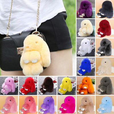 Hot Cute Bunny Rex Rabbit Fur Phone Car Pendant Handbag Charm Key Chain Ring Pom