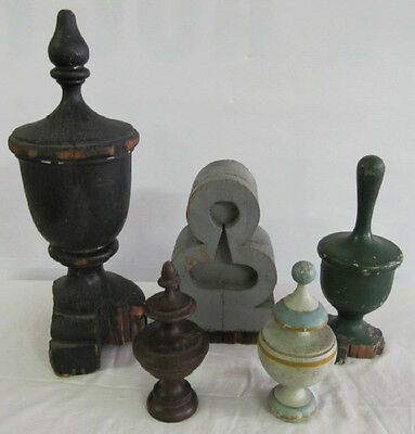 Antique Salvaged Painted Wood Architectural Finials Turn of Century