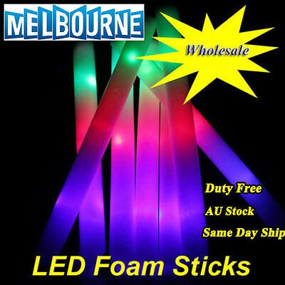 12-600 Pcs Light Up Foam Sticks LED Wands Rave Baton DJ Flashing Glow Stick