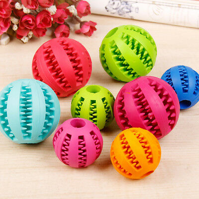 Rubber Ball Chew Treat Teeth Cleaning for Pet Dog Cat Play Toy Agility Training