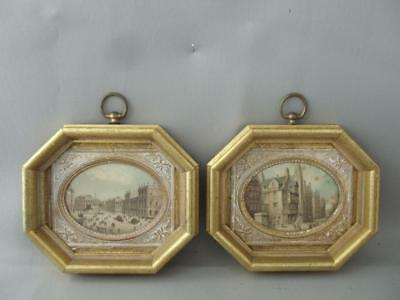 ANTIQUE VTG GOLD LEAF WOOD PICTURE FRAME PAIR w CITYSCAPE BRASS MATTED ENGRAVING