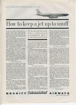 1962 Braniff Airways Airlines PRINT AD How to keep a jet up to snuff detailed