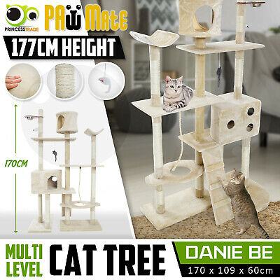 Cat Tree Scratching Post Scratcher Pole Gym House Furniture Multi Level 170cm BE