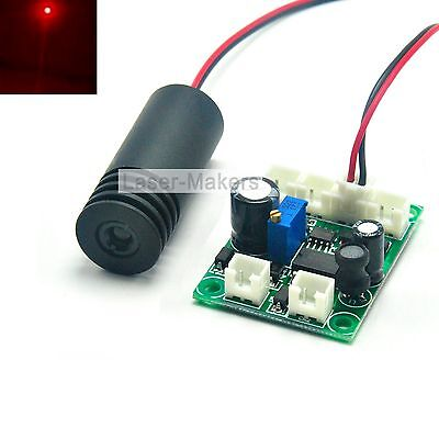 200mW 650nm Red 12V Focus Laser Dot Diode Module w/TTL 18x45mm Driver Out