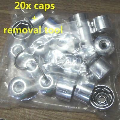 20x Chrome Wheel Nut Bolt Tire Screw Cover Cap Dust cover & removal Tool For VW