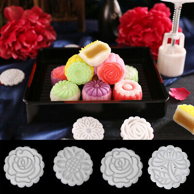50g Round Cake Mold Mooncake Mould 4 Stamps Flower Moon Cake Decor Baking Tools