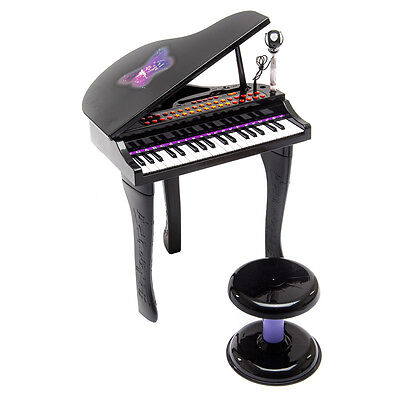 37 Key Kids Mini Toy Grand Piano Electronic Keyboard w/ Stool & Microphone Black