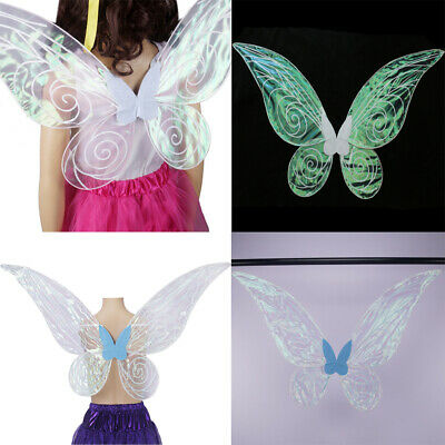 Adults Kids Color Changing Butterfly Angel Fairy Wings Party Fancy Dress Props