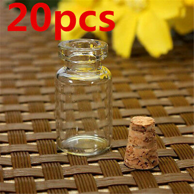 20xClear Mini Small Cork Stopper Tiny Glass Vial Jars Containers Bottle Bulk KP