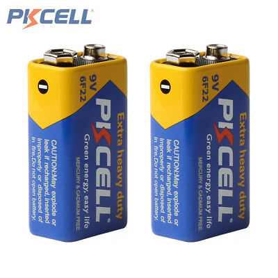 2pcs Pkcell Super Heavy Duty 9V 6F22 Dry Zinc Carbon Battery for Toys