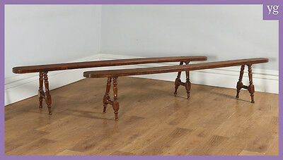 "Antique Pair of 7ft 10"" French Provincial Cherry Wood Kitchen Benches Circa 1860"