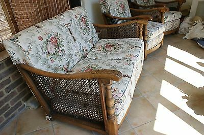 Antique Edwardian two seater bergere sofa.and two chairs