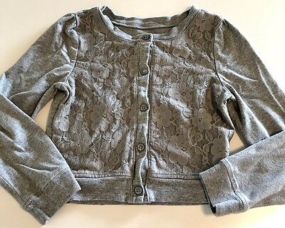 The Childrens Place Girls 5/6 Gray Cardigan With Lace