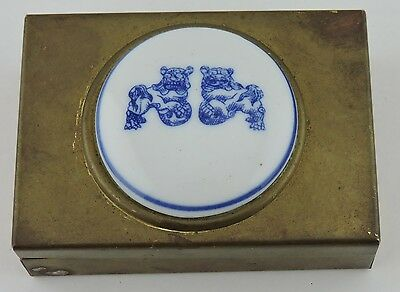 Vintage Asian Chinese Or Japanese Small Box Brass Porcelain Foo Dog Images