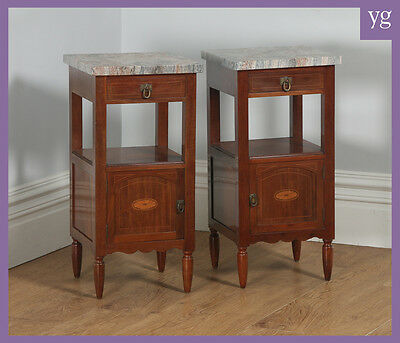 Antique Pair of French Art Nouveau Mahogany Marble Bedside Cabinets Night Stands