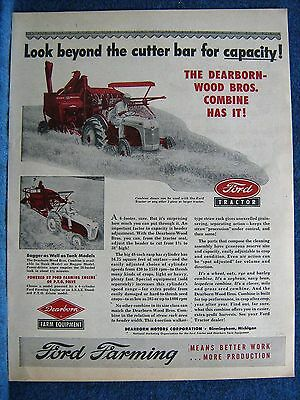 1952 Ford Farm Tractor Pulling Dearborn-Wood Bros. Combine In Field--Mag. Ad