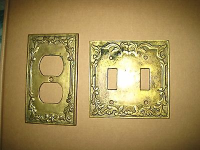 Vintage Outlet double Switch Plate Cover and Outlet Plate cover Heavy brass