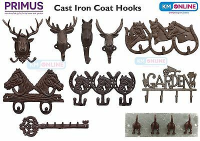 CAST IRON COAT HOOKS Stag/Deer/Horse/Moose OUTDOOR GARDEN HOME ORNAMENTS PRIMUS