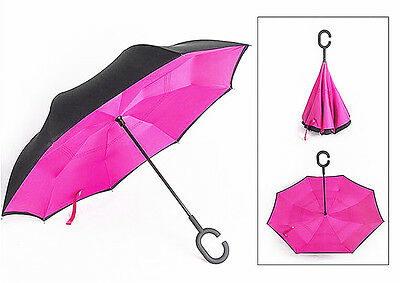 Anti UV Reverse Umbrella Double Layer Inside Out C Handle Windproof Pink + Black